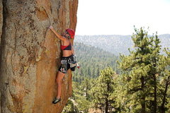 Rock Climbing Photo: Joan Bertini leading Smokin' the Rock