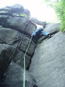 Rock Climbing Photo: starting the crux of the lower section...