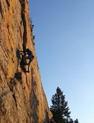 Rock Climbing Photo: Sunrise on Morning Town.  Paul Foster at the botto...