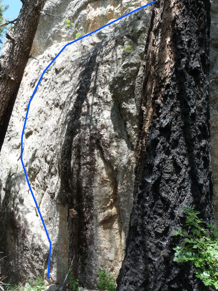 Rock Climbing Photo: Line indicates path of route