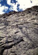 Rock Climbing Photo:   The 5.10+ face pitch, leading into the base of t...