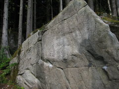 Rock Climbing Photo: Warm-up Boulder in the Sanctuary: to the left is t...
