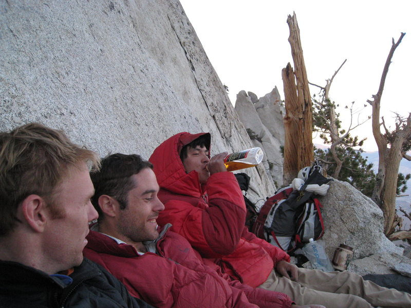 Rock Climbing Photo: A rough bivy on Pitch 5 during the FA.