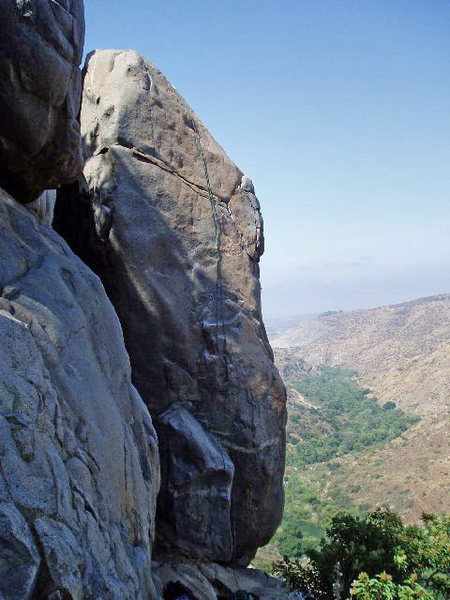 Rock Climbing Photo: The rope is hanging on the route.  Start on the ri...