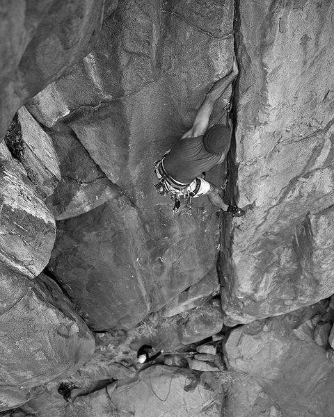 Oscar Olea on Gallwas Crack which he has ruthlessly wired.  I used a medium format camera loaded with B&W film as an experiment.