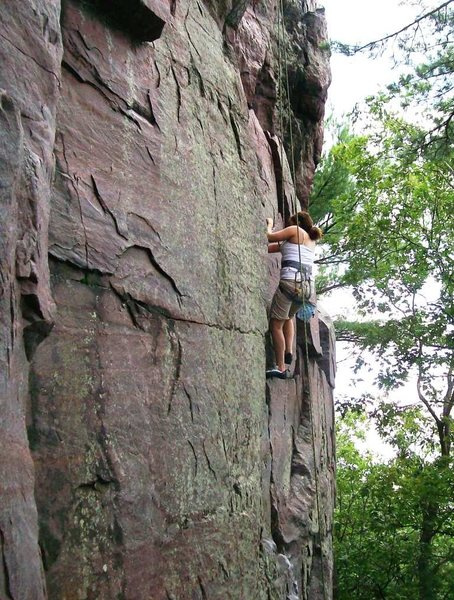 Lissette on Congratulations Crack, first day on real rocks.