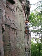 Rock Climbing Photo: Lissette on Congratulations Crack, first day on re...