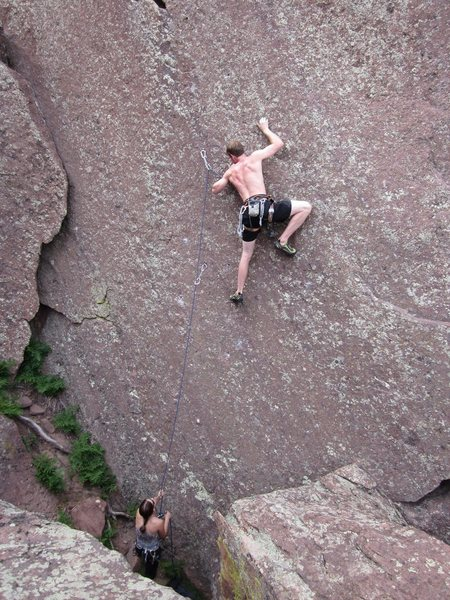 Rock Climbing Photo: On the thin crux of Discipline.