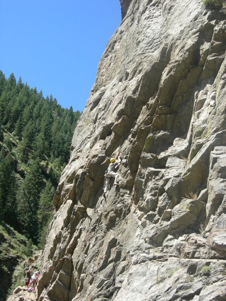 Rock Climbing Photo: Better view of the route, Ken on it.
