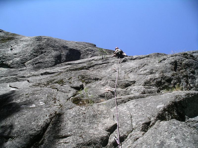 Climbing the first pitch (5.8) of Playin' Possum.