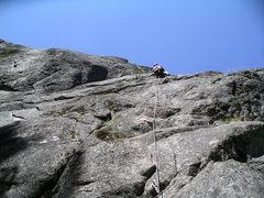 Rock Climbing Photo: Climbing the first pitch (5.8) of Playin' Possum.