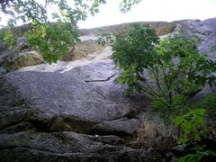 Rock Climbing Photo: Looking up at the double roof (between the branche...