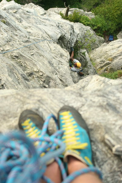 Looking down the 2nd pitch to the crows nest ledge