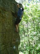Rock Climbing Photo: Rank-Dog on a barefoot send