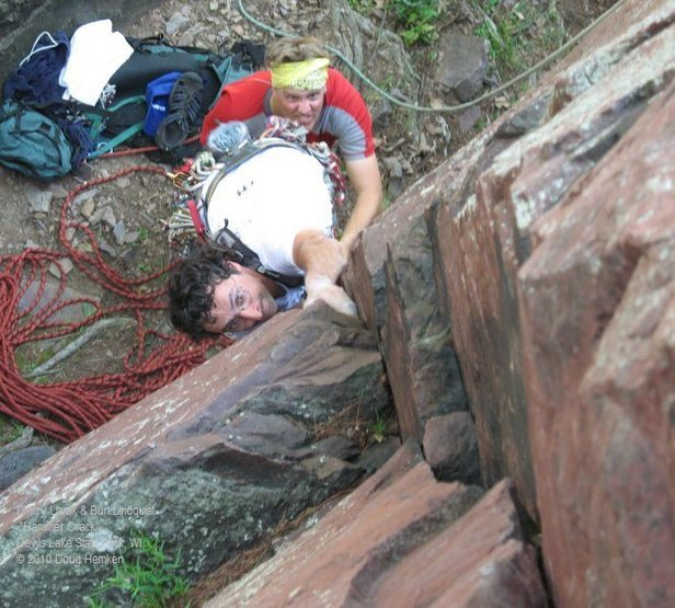 "Rock Climbing Photo: Dmitriy and Burt have a go at ""Hammer Crack.&..."