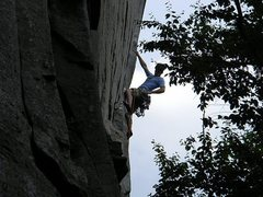 Rock Climbing Photo: High up on the steep section of P1.  Photo by Jess...