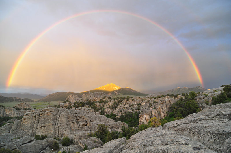 City of Rocks... <br> Have to give credit to my friend Brian. Maybe with a little encouragement he will believe his shots are great.  <br> <br> Sunset while climbing post storm at City of Rocks Spring 2009