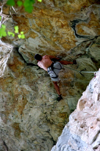 Chuck Lepley attempting the overhang.