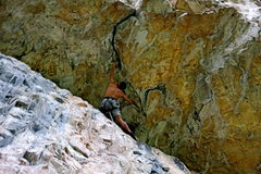 Rock Climbing Photo: Chuck Lepley reaching out at the overhang.