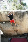 Rock Climbing Photo: Mike topping out Samba, V2+