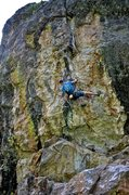 Rock Climbing Photo: On the upper wall above the big ledge. It's tightl...