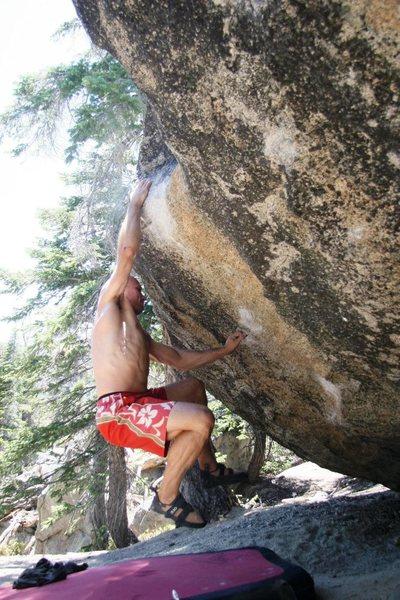 Rock Climbing Photo: Blue Flame Part III (sticking the big move)
