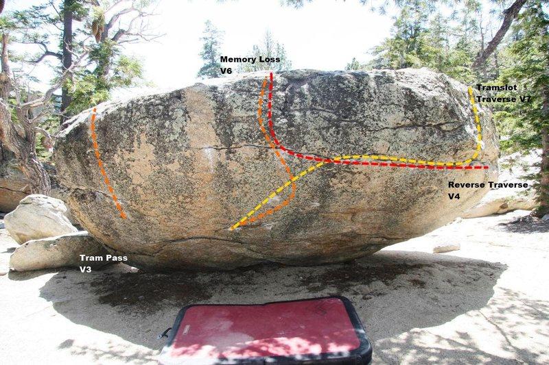 Tram Boulder north face topo
