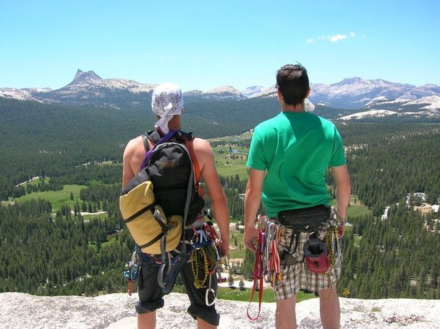 Rock Climbing Photo: Taken at the top of a climb in T. Meadows. I'm on ...