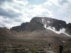 Rock Climbing Photo: Boulder Field, with the top of the Diamond in the ...