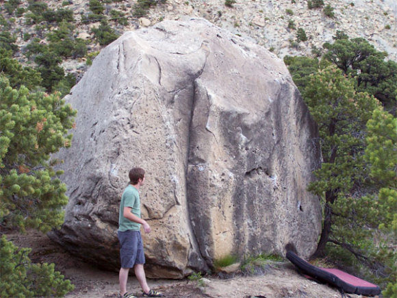 Sweet Dihedral in the center of the boulder