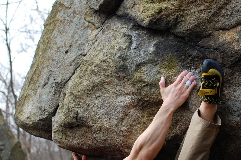 Rock Climbing Photo: Digging in that heel to get started
