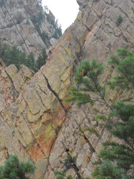 Rock Climbing Photo: Heading up Rebufatt's Arete.  Taken from the Yello...