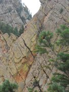 Rock Climbing Photo: Heading up Rebufatt's Arete.  Taken from the Yello...