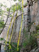 Rock Climbing Photo: 1. Lone Ranger    5.9 2. Tonto          5.8 3. Sco...