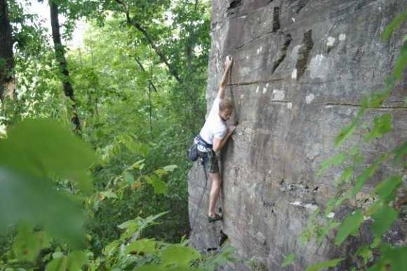 This is jamie cranking through his first sport climb.  The Good Life 5.7