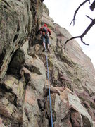 Rock Climbing Photo: Bob beginning P.2 on Pseudosidetrack.