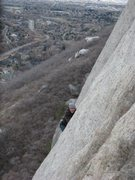 Rock Climbing Photo: On Cresent Crack in Little Cottonwood Canyon