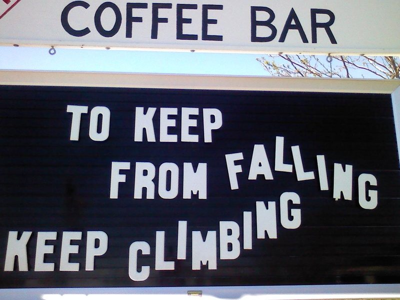Rock Climbing Photo: The wisdom of small town Coffee stands...