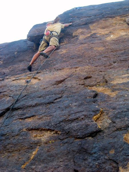 Marc Hansen on the first ascent of Wait for It (5.10b).