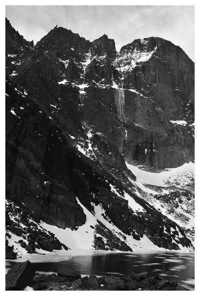 The Diamond in November of '09. Notice the spindrift avalanches.
