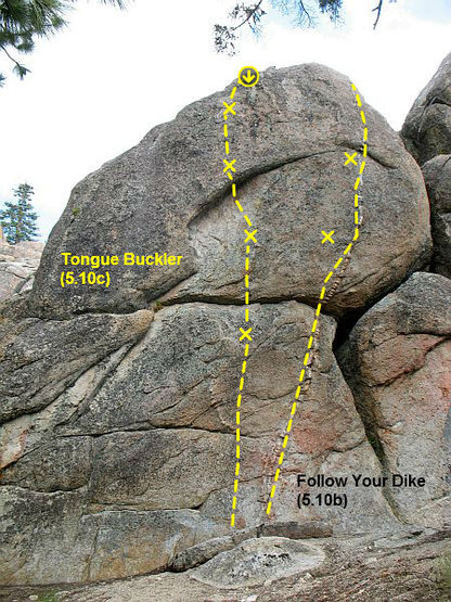 Photo/topo for East Crags (left side), Holcomb Valley Pinnacles