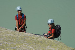 Rock Climbing Photo: Cécile and Claudio on the slabs above the lake