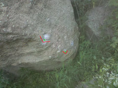 Rock Climbing Photo: The start holds for the L Green and  Red problems.