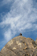 Rock Climbing Photo: Locker spazzing out on the summit. Photo by Blitzo...