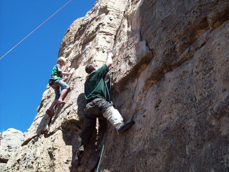 Rock Climbing Photo: Ian on Alexi's route and random guy on Ian's route...