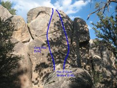 Rock Climbing Photo: Photo/topo for Parking Lot Rock, Holcomb Valley Pi...
