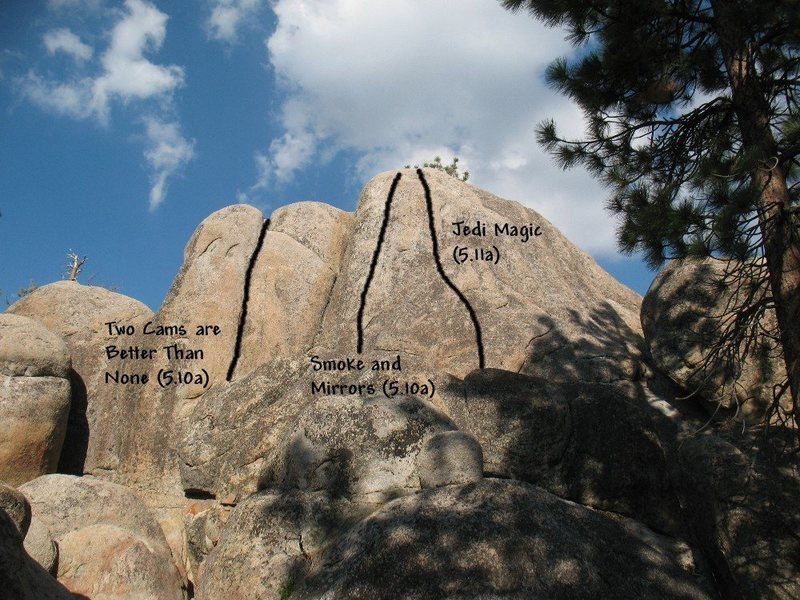 Photo/topo for Parking Lot Rock, Holcomb Valley Pinnacles