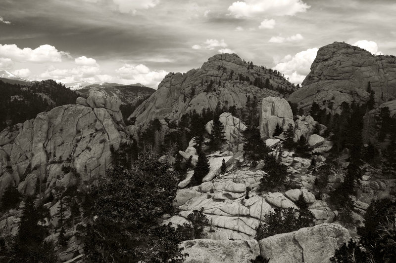 Rock Climbing Photo: Fin City is the light colored prominent stone just...