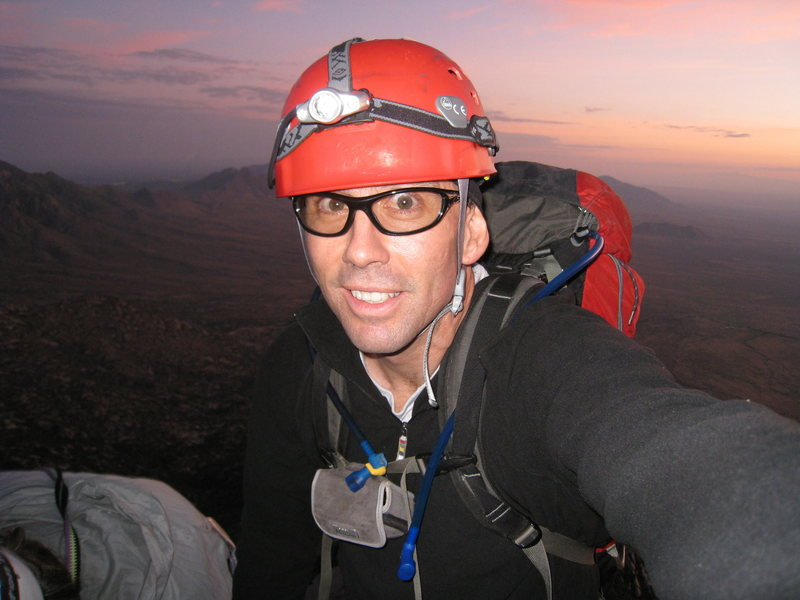 Sunrise behind me during our full moon climb of Sugarloaf, Sept 5-6, 2009.