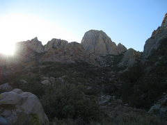 Rock Climbing Photo: North Rabbit Ear at sunrise on the approach hike. ...